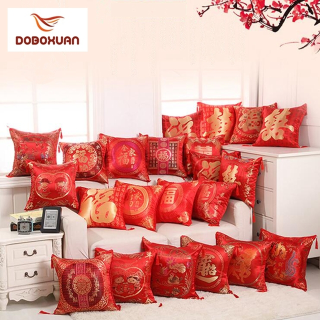 83f5764c3 Chinese Red Embroidered Pillow Covers New Year Valentine's Day Wedding  Gifts Decorative Pillows Home Decor Tassels Cushion Cover