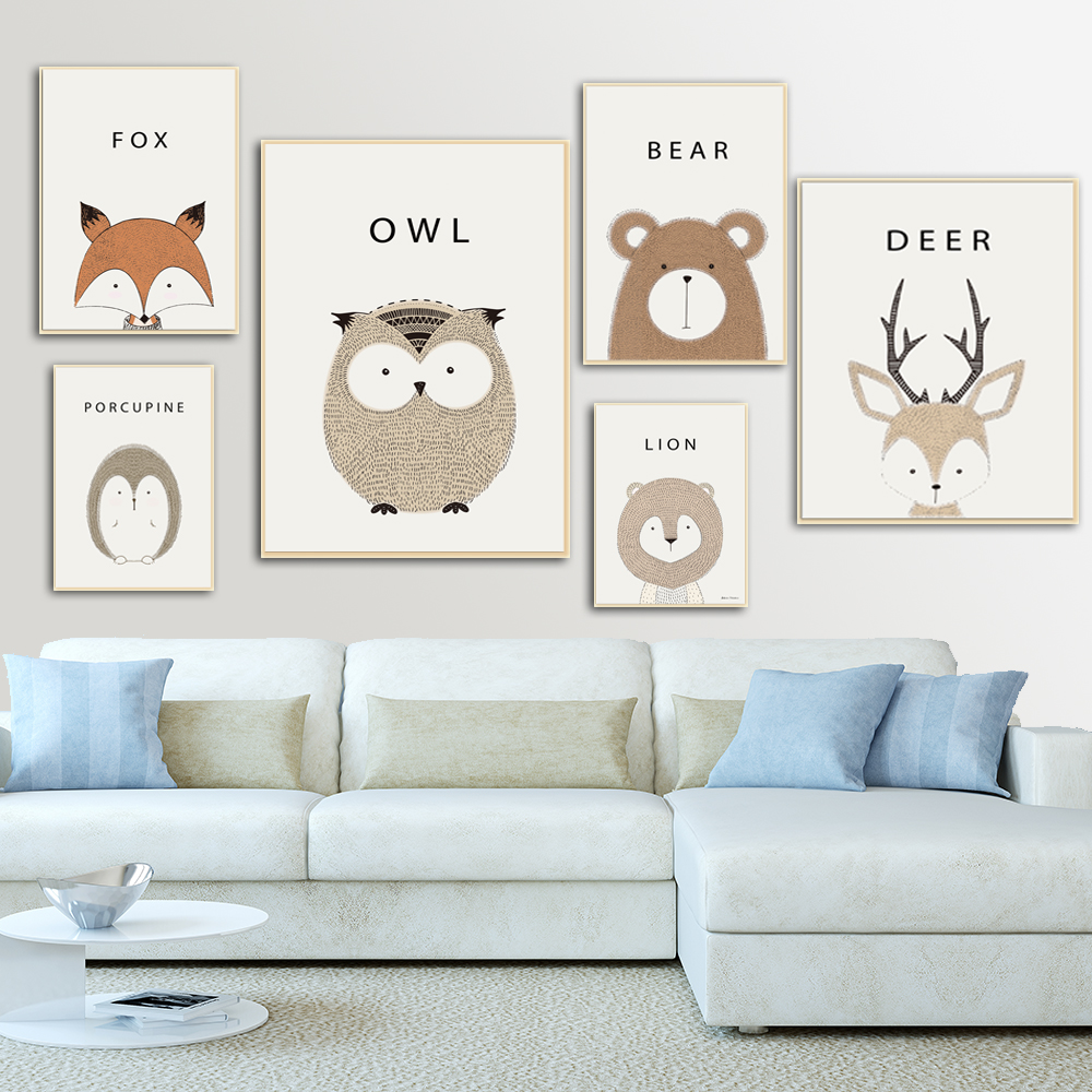 19 Adorable Ideas For Decorating Small Nursery: Set Of 6 Animal Posters Neutral Nursery Decor Cute Nursery