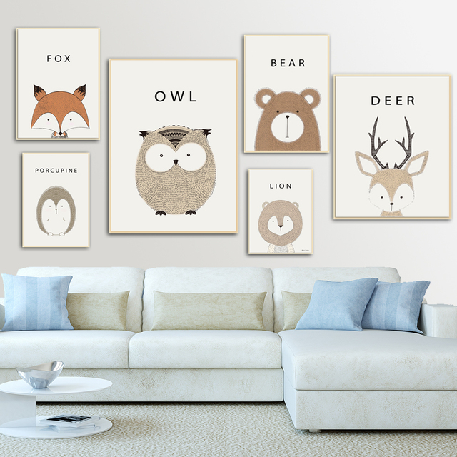Set Of 6 Animal Posters Neutral Nursery Decor Cute Wall Art Baby