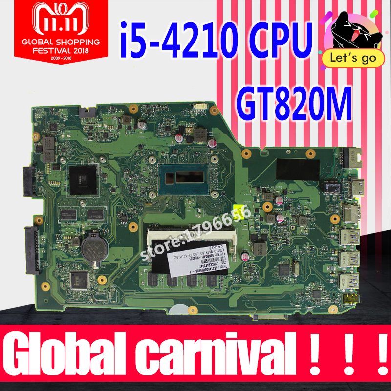 X751LD Motherboard I5-4210U GT820M USB 3.0 For ASUS X751LD X751L K751L K751L X751LN X751LJ laptop Motherboard X751LD Mainboard original x751ld rev 2 0 for asus x751ln x751lj k751l laptop motherboard ddr3 with i7 4710 cpu 4gb ram mainboard 100% tested