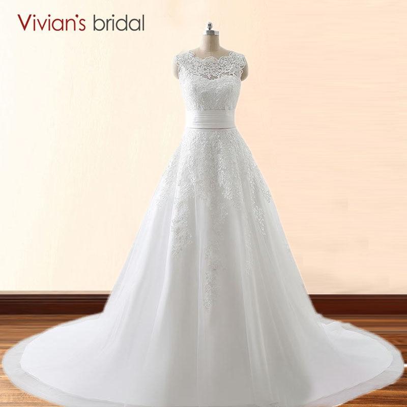 Vivian's Bridal Two Style Snörning En Line Bröllopsklänning Med Avtagbar Tåg Brudbrudklänning Bröllopsklänning 26411