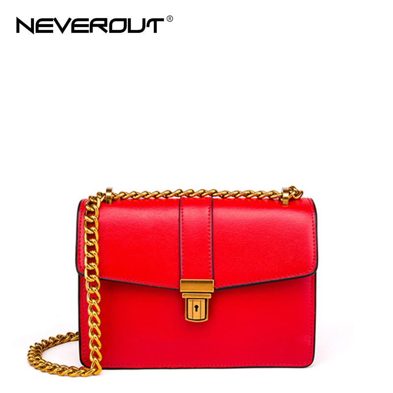 NeverOut 2 Color Clutch Split Leather Bag Women Shoulder Sac Solid Fashion Messenger Bags Luxury Gold Color Chain Crossbody Bag jianxiu brand fashion women messenger bags split leather shoulder crossbody chain bag small solid color 2017 new bolsas feminina