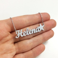 Custom Name Necklace with Star Silver Necklaces Personalized Nameplate