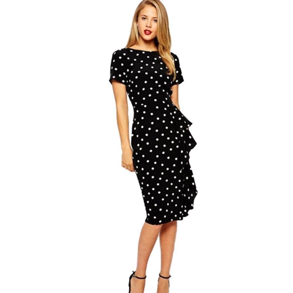 911122119337 2016 new Fashion women Polka Dot of Bodycon dress Girls Slim Office ...