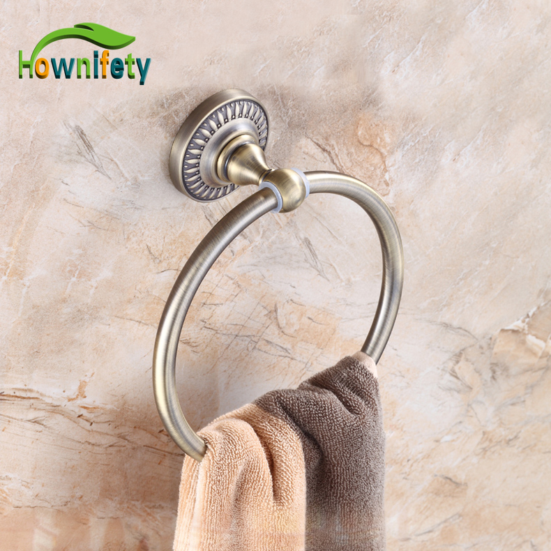 Antique Bronze Bathroom Towel Ring Solid Brass Towel Holder Bathroom Accessories apl 6411 12 bathroom classic brass paper holder towel ring with lotus carving base bronze