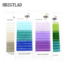 HBZGTLAD C/D 0,07/0,1 мм 8-15 мм Ложные ресницы синий+ зеленый+ фиолетовый+ белый ресницы индивидуальные цветные ресницы из искусственной кожи, ресниц для наращивания
