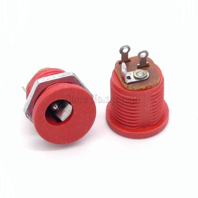 10Pcs DC-022 5.5-2.1 / 5.5 X 2.1mm DC Power Socket/ DC Connector Panel Mounting DC022 Red