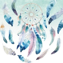 Laeacco Dream Catcher Feather Baby Watercolor Painting Photography Background Customized Photographic Backdrop For Photo Studio