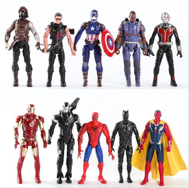 Brinquedo quente Conjunto PVC Brinquedos Figuras de Ação Da Marvel Legends Hulk Spiderman Antman Figuras Pantera Negra Capitão Ironman Spiderman Brinquedo do Miúdo