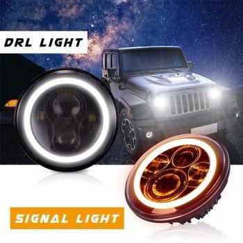 GERUITE 2pcs 7 Inch Led Driving Light 50W 30W H4 H13 LED Car Headlight Kit Auto for Jeep Led Head Lamp Bulbs Dipped & High Beam
