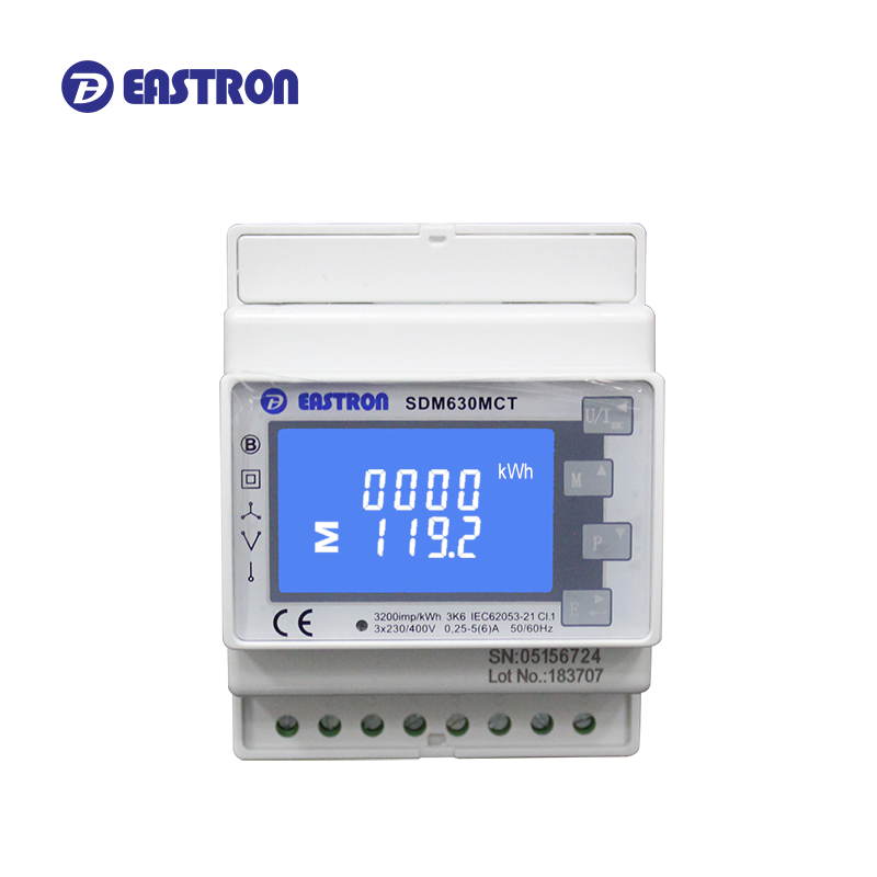 SDM630MCT, 1 А/5 А CT, 3-фазная стандартная DIN-рейка, ЖК-экран с подсветкой; Импульсный/RS485 Modbus RTU выход