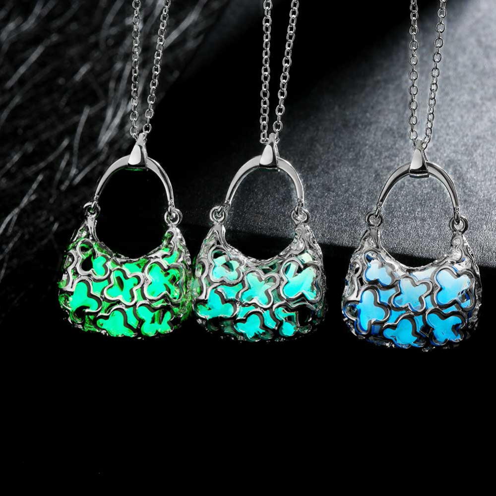 100PCS/LOT WHOLESALE Hand Bag Pendant Charm Luminous Necklace 3 Colors Pendant Jewelry Trendy Glow In The Dark Glowing Model