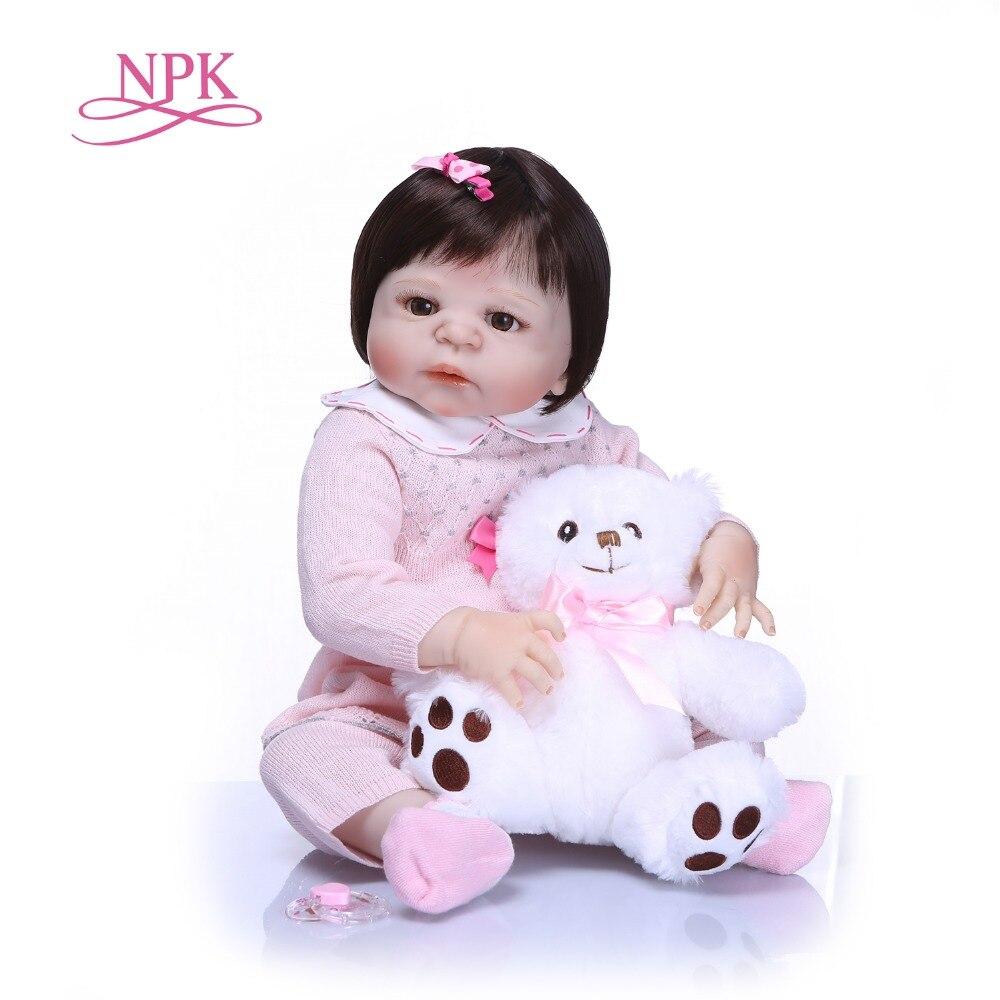 NPK 57cm Full Silicone Body Reborn Baby Doll Realistic Handmade Vinyl Newborn babies Doll Reborn Birthday Gift Girls Brinquedos цены онлайн