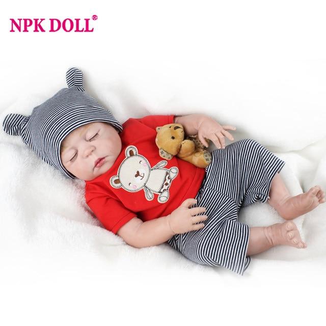 NPKDOLL 55 CM Soft Silicone Doll Reborn  Alive Dolls Lifelike Sleeping Real Reborn Boy Toys For Children Birthday Gift