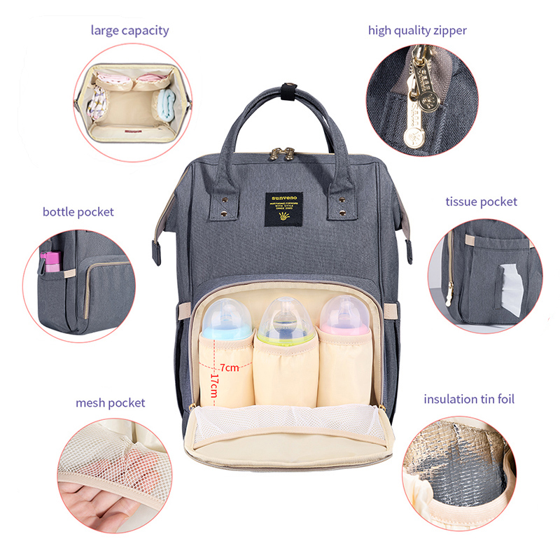 Sunveno Brand Waterproof Diaper Bag Large Nursing Maternity Nappy Bag Travel Backpack for Baby Mummy Stroller Bag Baby Care