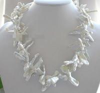 Jew3116 Natural White Reborn Keshi Pearl necklace 14k