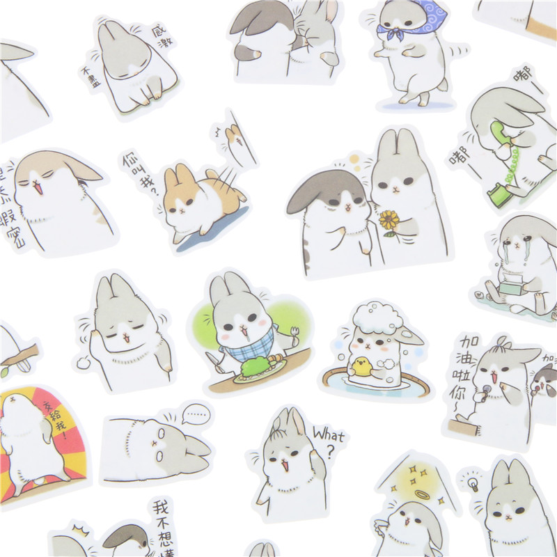 40 Pcs/ Lot New Kawaii Chubby Rabbit Series Pet Sticker Pack/hot Sell Deco Packing Stickers/school Office Supplies