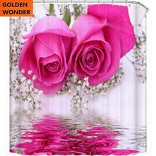 цена на Free Shipping New Design Rose Flower Shower Curtain Bathroom Curtain Data Printing Cortina Polyester Water-proof Home Garden