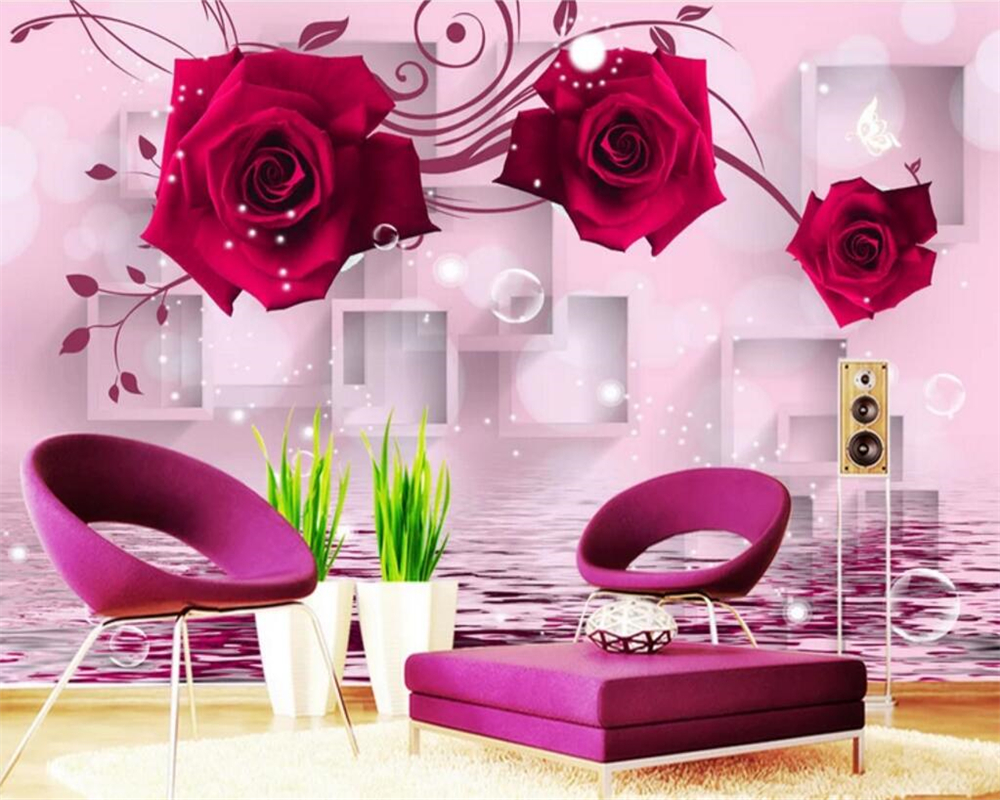 Beibehang Custom wallpaper red rose reflection 3D TV background wall home decoration living room bedroom background 3d wallpaper