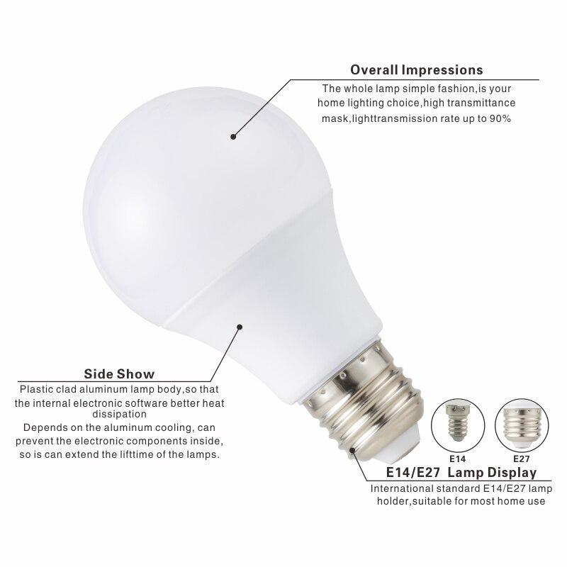 Купить с кэшбэком 6PCS LED Bulb Lamps E14 E27 AC 220V Light Bulb Smart IC 3W 6W 9W 12W 15W 18W 20W 24W High Brightness Lampada LED Bombillas