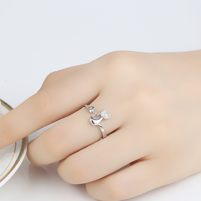 QCOOLJLY Rose Gold Color Cat Shape Wedding Engagement Adjustable Ring for Women CZ Jewelry Gift for Girl Party 3