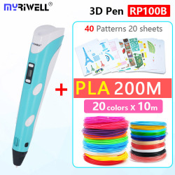 myriwell 3d pen add 200m PLA diameter 1.75 mm safety filament ,Smart Child birthday gift ,Christmas presents, new Year's gift