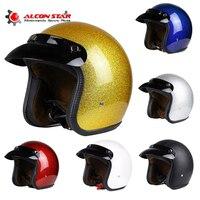 Alconstar PU Leather Helmets 3 4 Motorcycle Chopper Bike Helmet Open Face Vintage Motor Motorbike Helmet