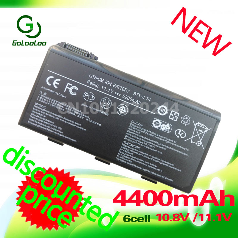 Golooloo 4400mAh 11.1v Battery For MSI BTY-L74 BTY-L75 A5000 A6000 A6203 A6205 CR600 A7200 CR610 CR620 CR630 CR610X CR700 CX600 11 1v 9 cells bty l75 bty l74 laptop battery for msi cx600x cr610 cr620 cr700