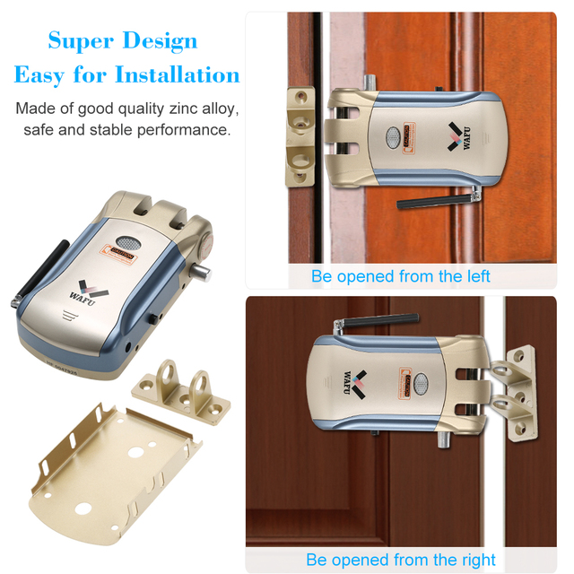 2018 New Wireless Remote Control Electronic Lock Invisible Keyless Entry Door Lock with 4 Remote Controllers