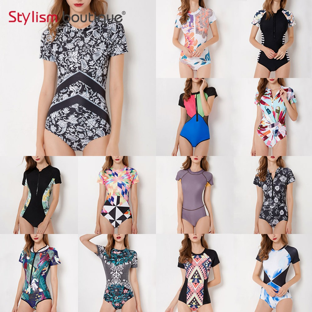 Diving One Piece Swimsuit Patchwork Short Sleeve Women Swimwear Bathing Suit