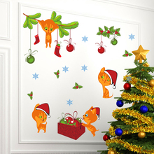 Merry Christmas Cat Bells Sock Wall Stickers For Kids Rooms Store Window Cartoon Animal Wall Decals Art New Year Poster PVC Gift аксессуар аккумулятор apple macbook pro 15 a1286 a1382 2011 2012 palmexx 10 8v 7000mah pb 351
