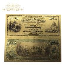 Wishonor 10 шт./лот 1875 год американская цветная Золотая банкнота USD 1000 доллар банкнота 24K позолоченная копия поддельных денег для сбора
