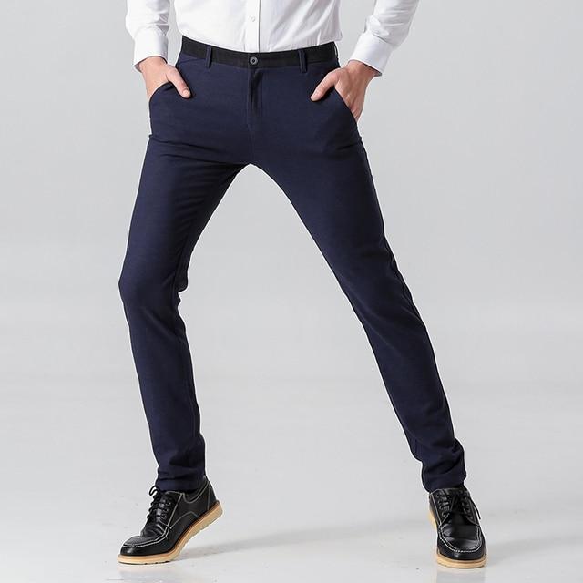 Autumn Winter Style Men Casual Pants Cotton Straight Slim Fit Male Trousers Black Blue Mid-Waist Business Mens Pant Plus Size 38