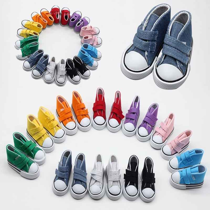 Doll Accessories Shoes 7.5cm Denim Canvas Mini Doll Shoes Sneakers Shoes For Dolls Gift For Girls