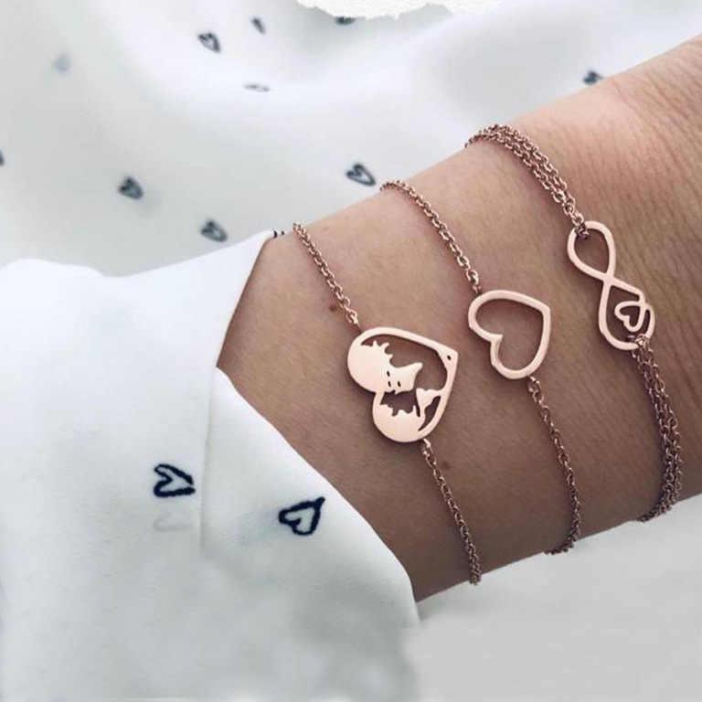 DIEZI czeski różowe złoto kolor bransoletki łańcuchowe dla kobiet dziewczyny Ocean serce urok bransoletki bransoletki w stylu Vintage moda 2019 nowy