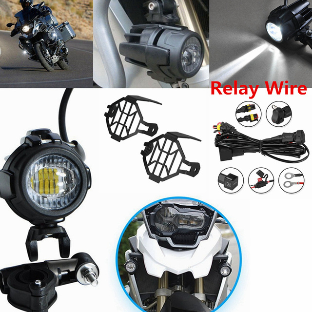 Enjoyable Motorcycle Led Auxiliary Fog Lights Protector Cover Relay Wiring Wiring Cloud Hisonuggs Outletorg