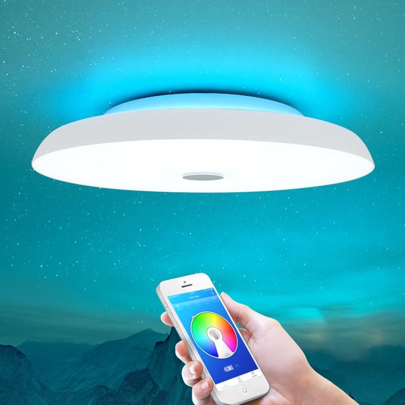 Современные светодиодные потолочные лампы с регулируемой яркостью 36 Вт 48 Вт 72 Вт приложение дистанционное управление Bluetooth музыкальный светильник динамик Фойе Спальня умный потолочный светильник