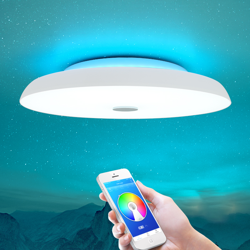 Modern LED ceiling Lights Dimmable 36W 48W 72W APP Remote control Bluetooth Music light speaker foyer bedroom Smart ceiling lamp image
