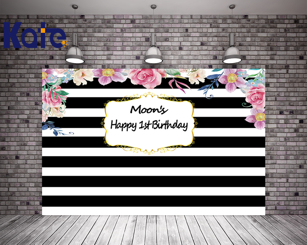Kate Happy Birthday 1st Baby Shower Backdrop Black And White Stripes Background For Photography Custom Children Backdrop kate digital printing house under snow photography studio backdrop dreamlike background kate background backdrop