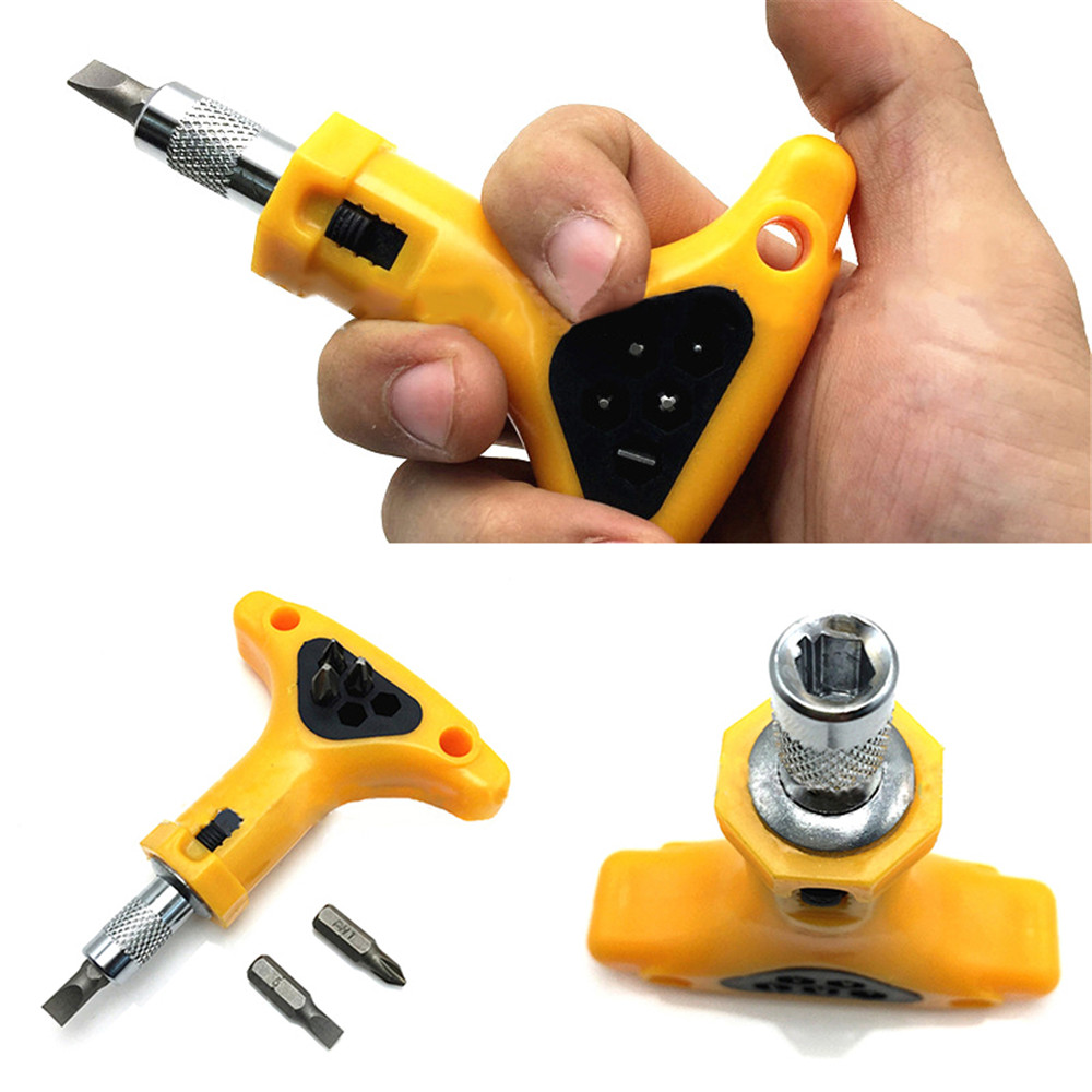 Sale 11pcs Ratchet Screwdriver Bits with T Handle Anti-slip Ratchet Screwdriver Bits for Home Maintenance