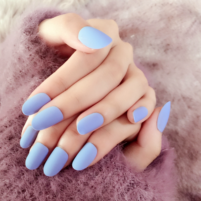Colorful Matte Baby Blue Nails Pattern - Nail Polish Ideas ...