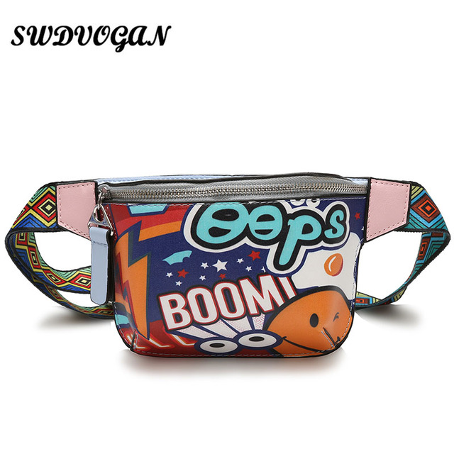 271ce8c9e1d US $11.61 45% OFF|2018 Fashion Geometric Women Fanny Packs Cartoon Pu  Leather Waist Bag Belt Bag Money Phone Pouch Shoulder Bags Female Bum  Bag-in ...