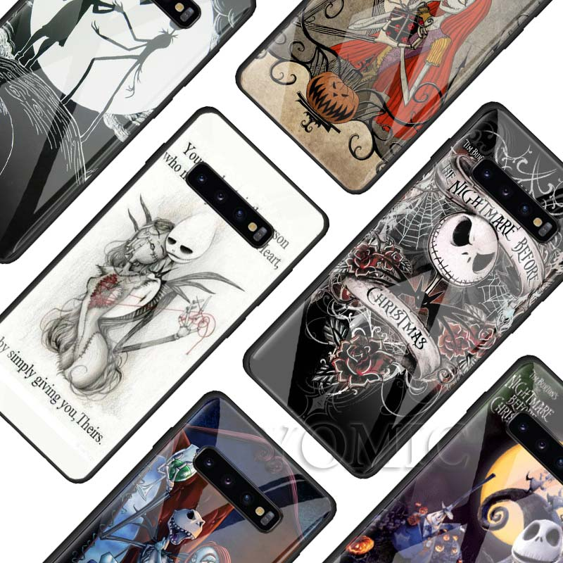 The Nightmare Before Christmas Tempered Glass Case for Samsung Galaxy S10e S8 S9 S10 Plus A50 A70 Note 9 10 Phone Cover Capa in Fitted Cases from Cellphones Telecommunications