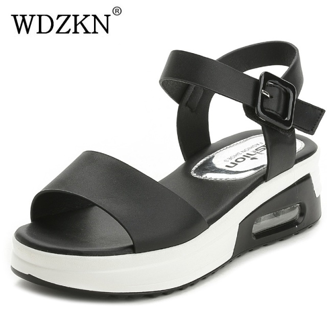 91bc3b7f56 WDZKN Comfortable Platform Sandals Women Shoes Muffin Round Toe Soft Med Women  Summer Wedge Sandals Female