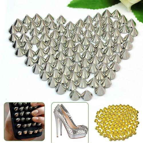100 PCS 10mm Silver Gold Metal DIY Stud Rivet Spikes Craft Case Shoes Bag Leathercraft DIY Accessories Drop Shipping