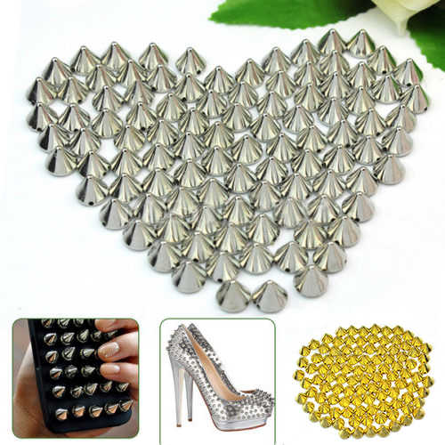 100 PCS 10mm Silver Gold Metal DIY Stud Rivet Spikes Craft Case Shoes Bag Leathercraft DIY Accessories Drop shipping