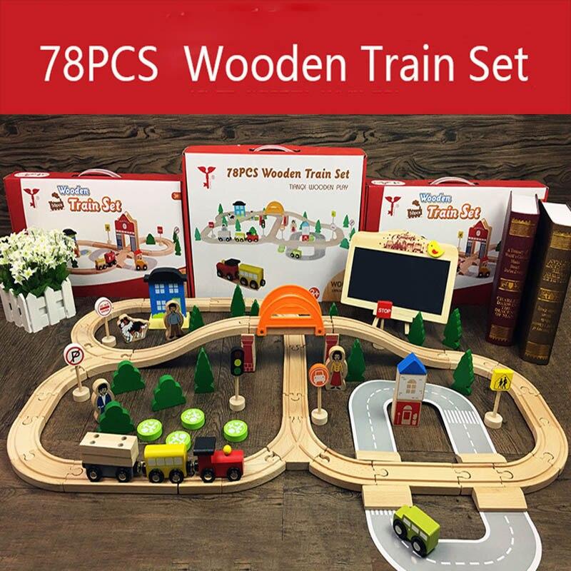 78Pcs Wooden Train Track Toys Magical Magnetic Rail Bridge Station Magnetic Car Educational Toys For Children