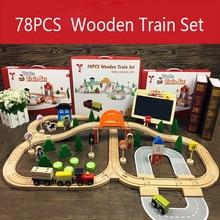 78Pcs Wooden Train Track Toys Magical Magnetic Rail Bridge Station Magnetic Car Educational Toys For Children Brio Trains Cars