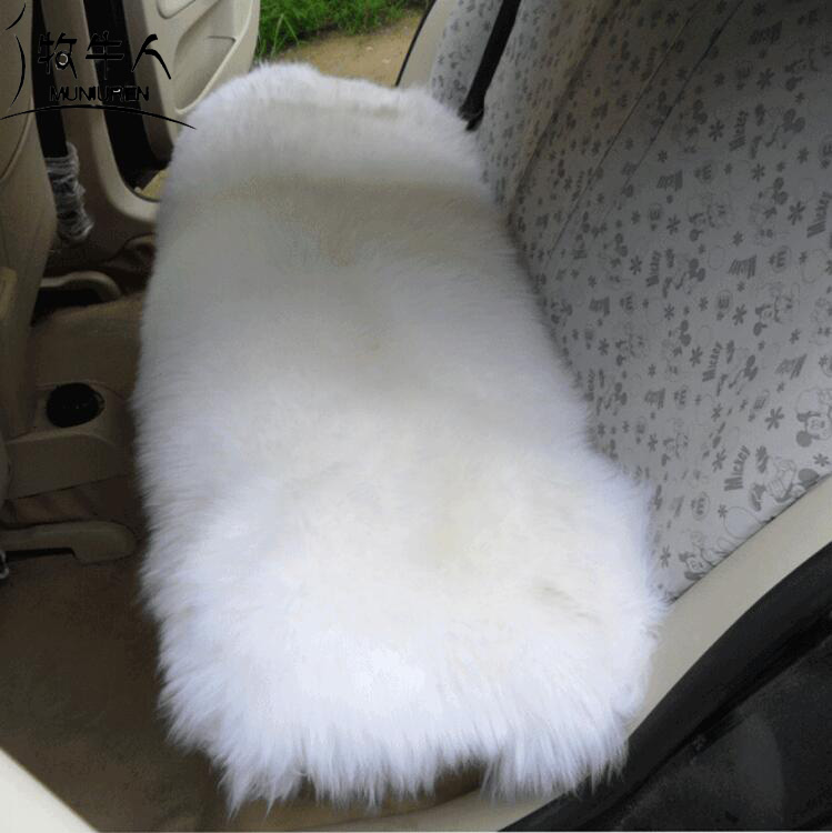 1pcs Wool Car Seat Cover Plush Fur Back Seat Cushions Universal Australia Wool Sheepskin Fur Sofa Furry Pads Car Accessories ogland natural fur comfort authentic fluffy sheepskin car seat cover for soft car seat cushion made of australia wool automobile