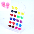 Free Shipping Fashion Jewelry Cute Solid And Jelly Colors Big And Small Double Faced Eraser Matt Resin Ball Stud Earrings 12pair